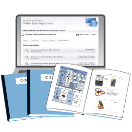 Contractors Licens Curriculum.  Print Books (manuals) and Online Tests displayed on a laptop.